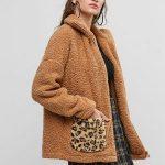 Zip Up Leopard Dual Pocket Teddy Jacket APRICOT CAMEL BROWN