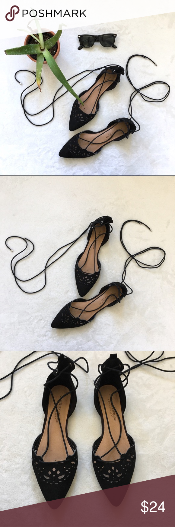 black cut out flats with lace up ankle These are sooo cute and the perfect way t…