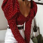 boutiquefeel / Blusa de manga corta con estampado de lunares