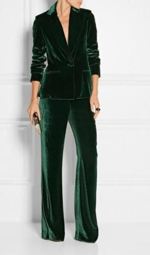 business interview outfit Bespoke-Dark-Green-Women-Velvet-Pants-Suit-Winter-Ladi…