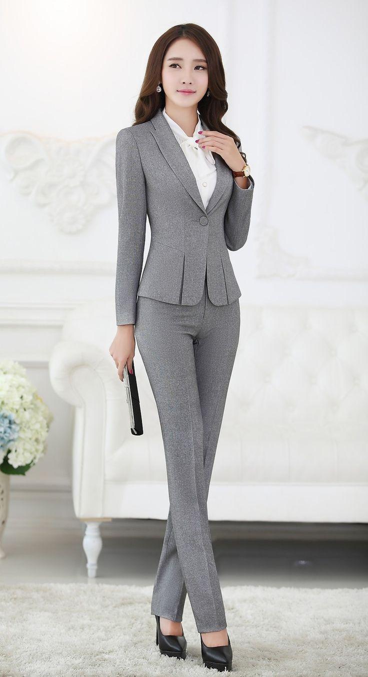 business suits for women formal pant suits for women business suits for work wear sets gray blazer  ladies MCXVYSP – fashionarrow.com