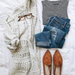 casual outfit inspiration || chunky knit cardigan, distressed denim, black and w… - NeverTellMe.com