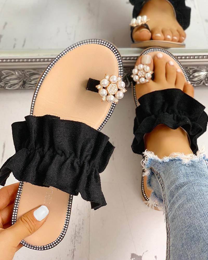 chicme / Toe Ring con cuentas volantes dobladillo Casual sandalias
