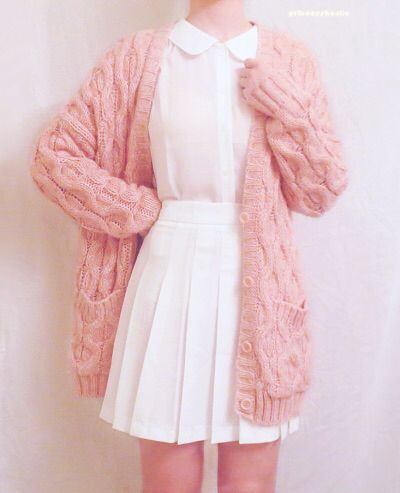 chunky pink sweater over all white chicness                                     …