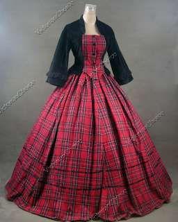 civil war victorian ball gowns   Civil War Victorian Tartan Velvet Ball Gown Day…