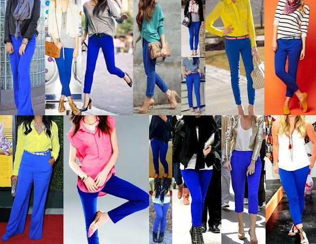 colours to go with my cobalt jeans – want the scarf in the first look
