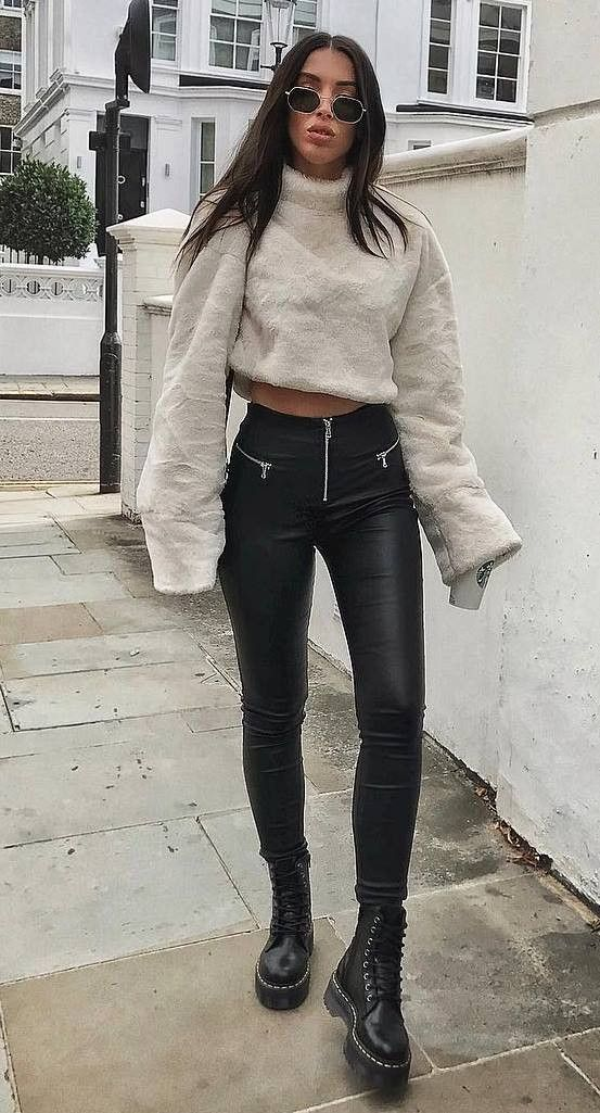cozy autumn outfit | white pullover leather skinny trousers boots … – Yolanda