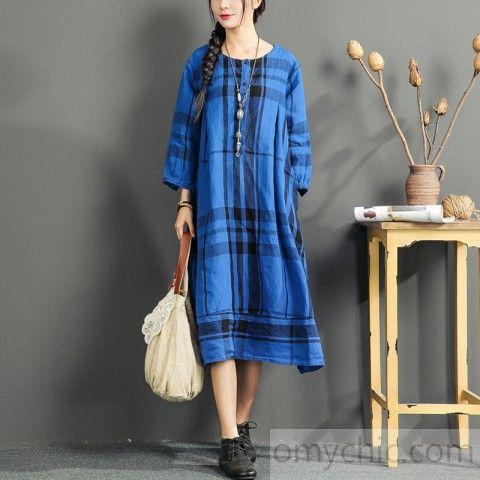 fine linen dress summer casual oversize sundress plaid vintage maternity dress