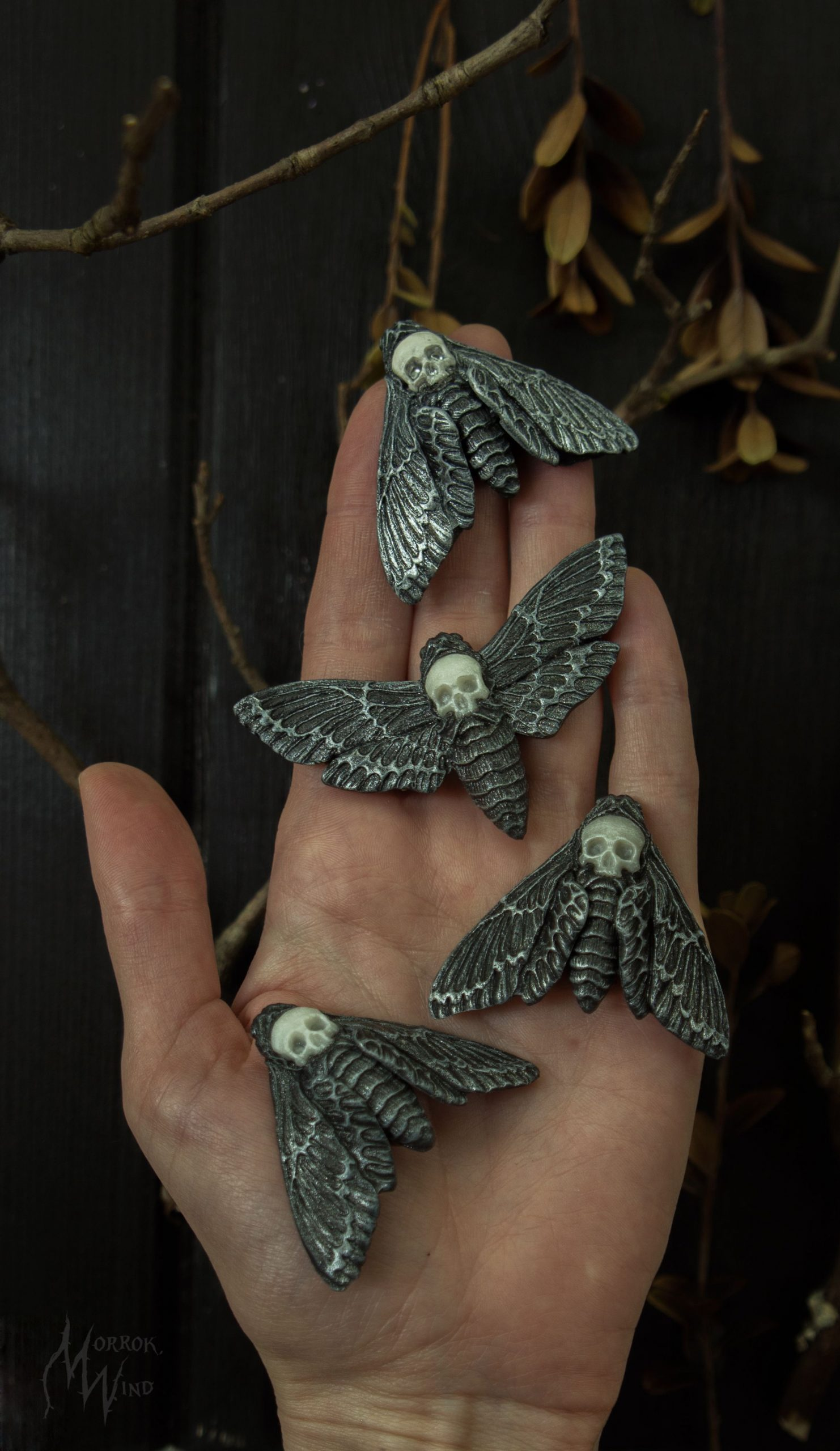 halloween jewelry Witchy Death's head Hawkmoth Acherontia Witch's jewelry brooch Gothic skull moth scull butterfly insect dark boho fantasy