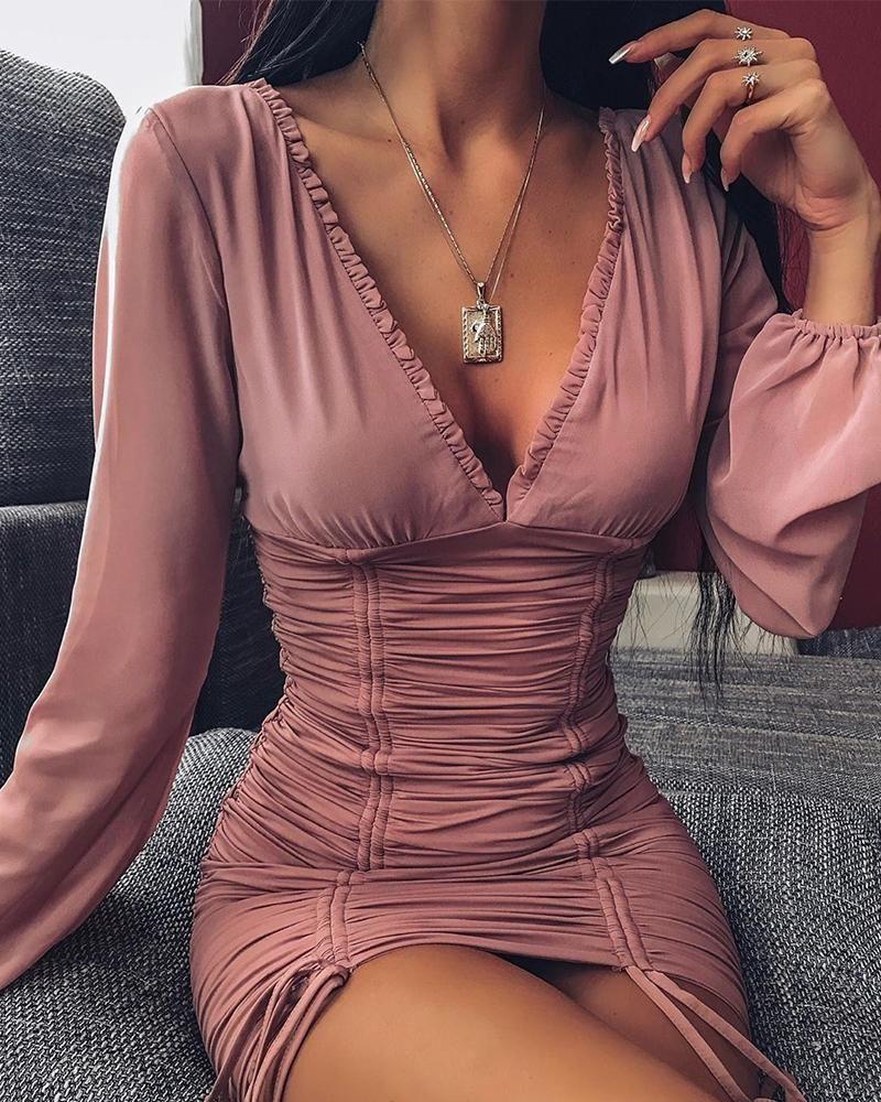 ivrose / Vestido bustier con lazo fruncido y cuello en V