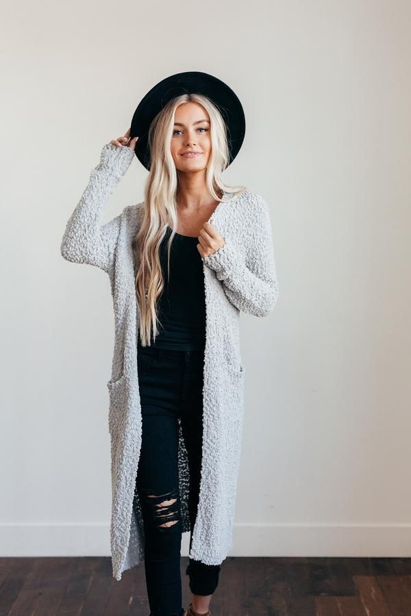 long cardigan with all black and black hat…cutest fall outfit – Outfits for Work