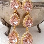 long chandelier earrings,Blush earrings,Morganite earrings,blush bridal earring,blush bridesmaid earring,Drop dangle earring,warovski earrin