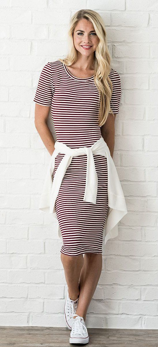 modest dress, striped dress, mikarose, modest clothing, teacher clothes, teacher…