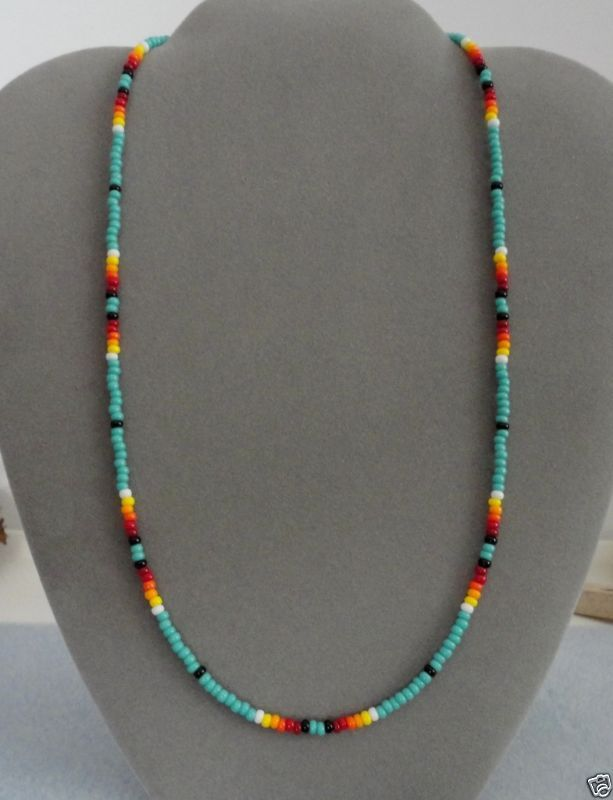 native american bead necklaces | Turquoise Beaded Mens, Womens Necklace Native A…