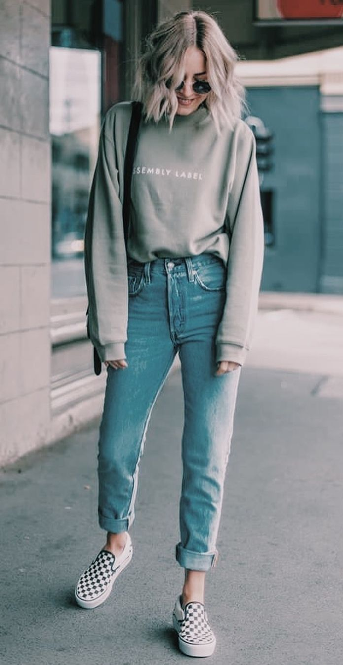 nice   what to wear with a pair of boyfriend jeans : bag + sweatshirt + plaid sl…