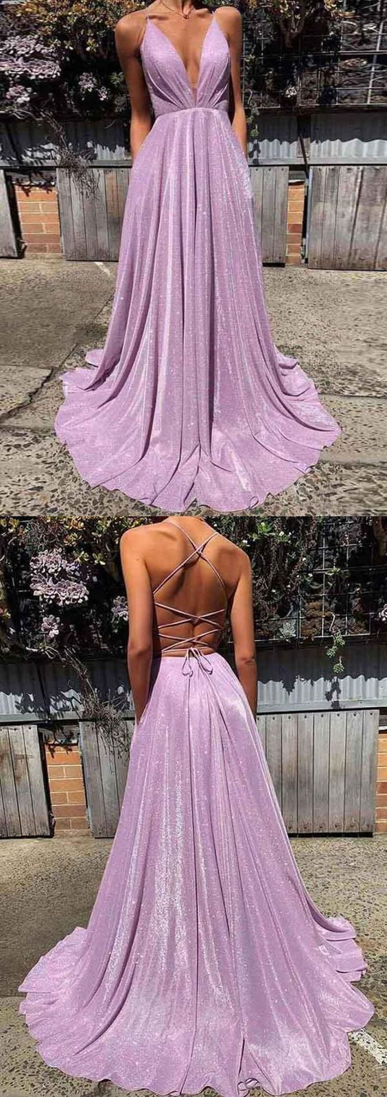 open back simple cheap sparkly lilac dress ML253