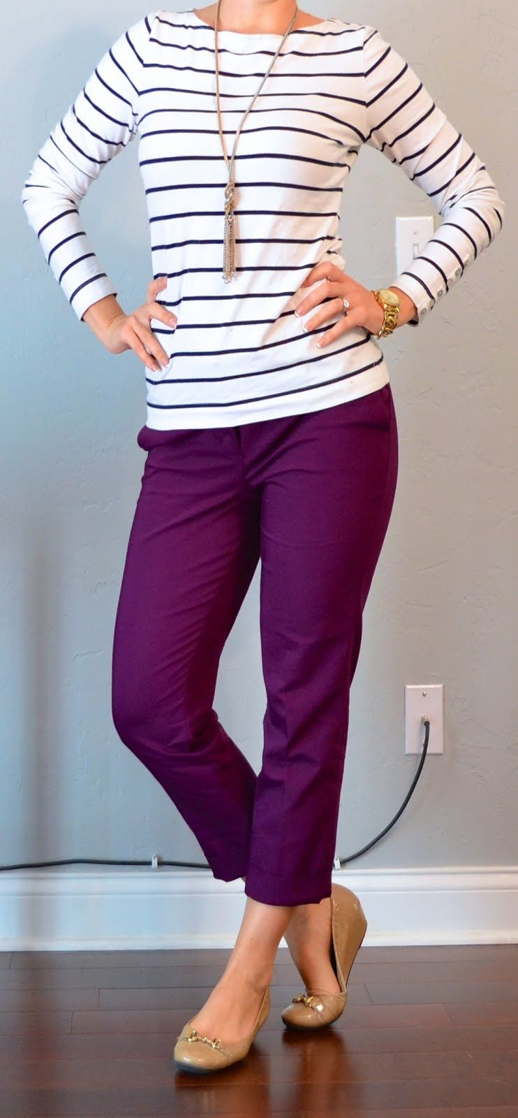 outfit post: striped top, purple cropped pants, nude flats | Outfit Posts