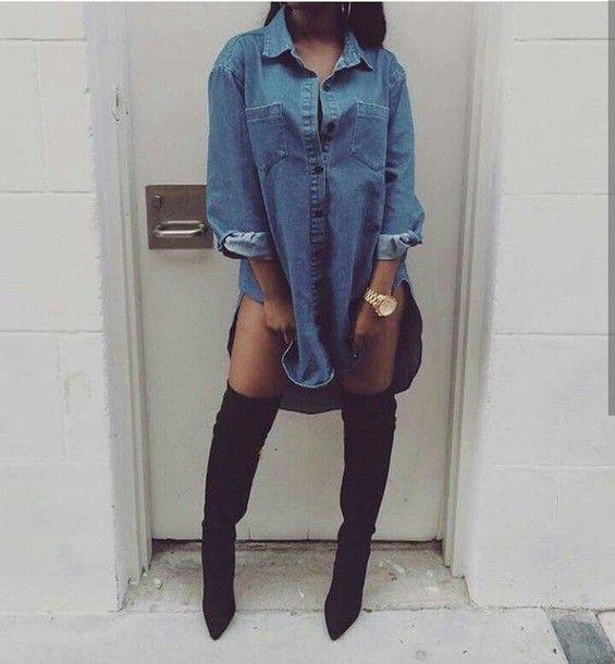 shoes shirt dress thigh high boots jean dress denim dress shirt