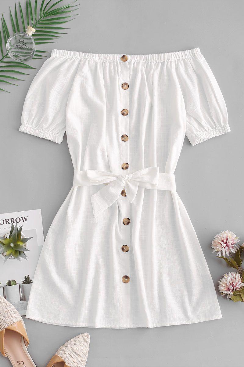 shop for Button Up Off Shoulder white summer dress