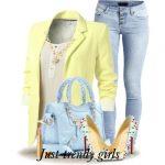 spring or summer light yellow blazer blue denim jeans with light blue stilettos ...