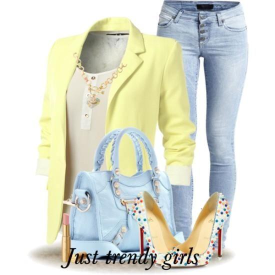 spring or summer light yellow blazer blue denim jeans with light blue stilettos …