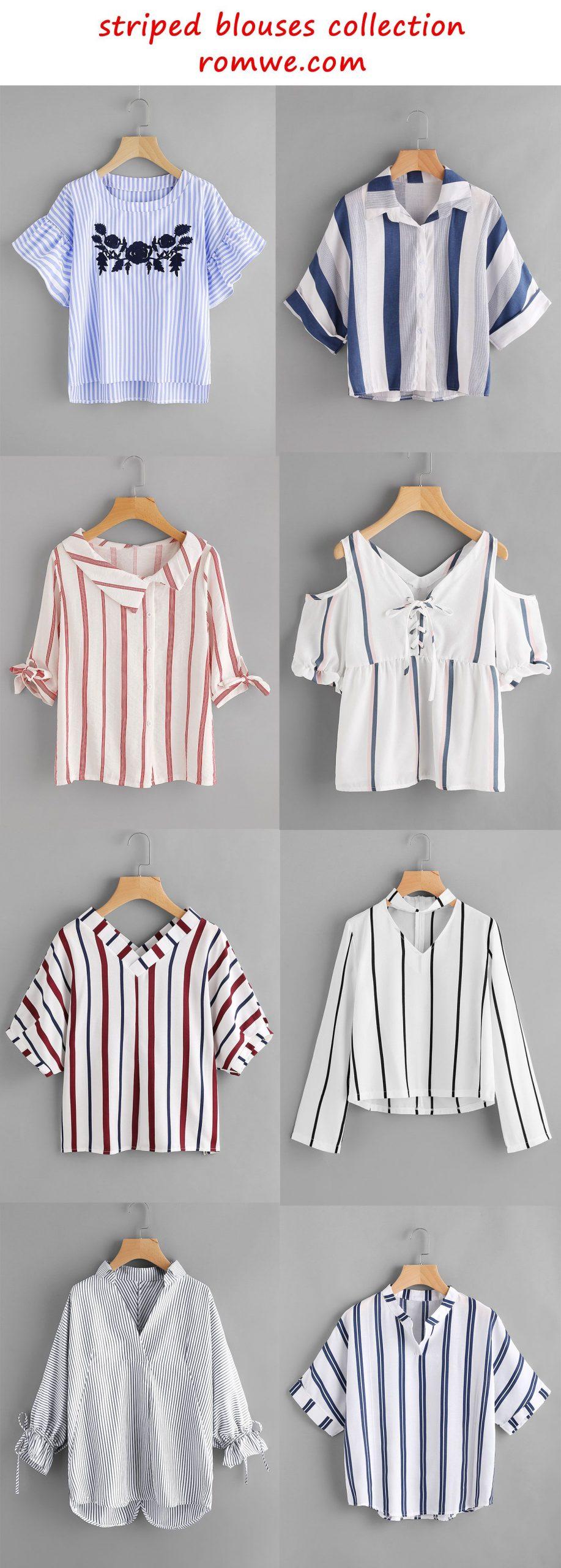 striped blouses 2017 – romwe.com