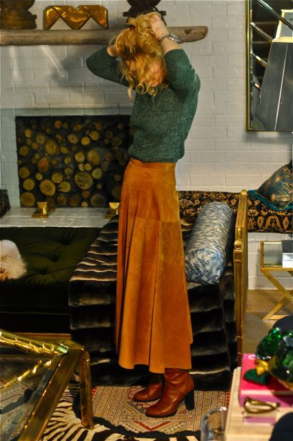 suede maxi skirt with boots, NOW, I would wear boots with this skirt, my sister …