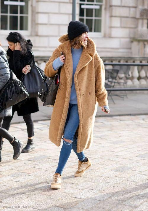 teddy coat & denim #style #fashion #streetstyle