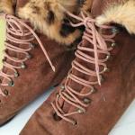 vintage Fur & Leather Lace Up Boots Cognac sz 9 These are amazing vintage boots....