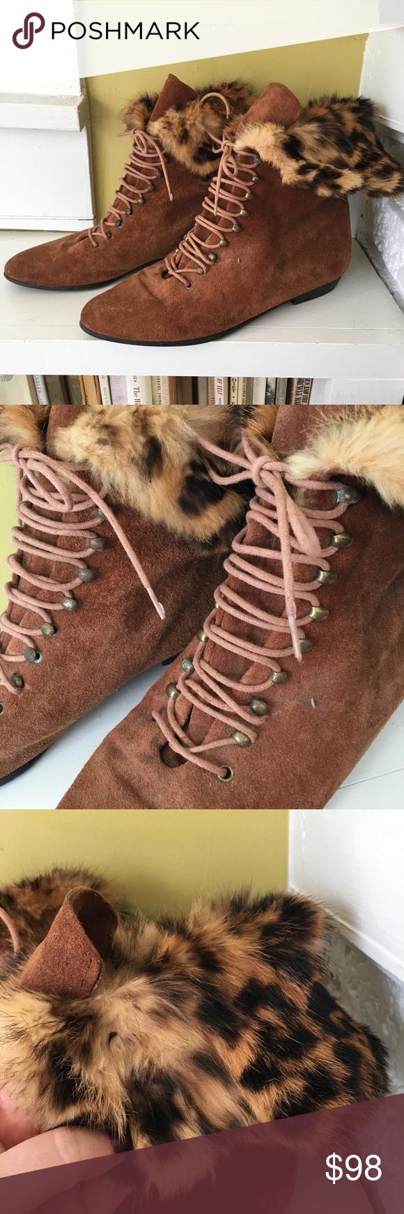 vintage Fur & Leather Lace Up Boots Cognac sz 9 These are amazing vintage boots….