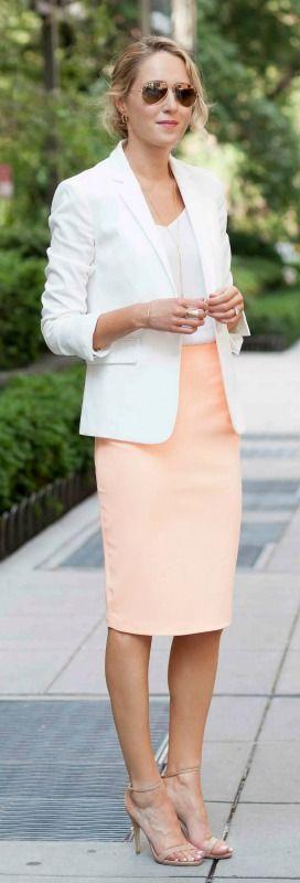 white blazer, silk spaghetti strap camisole, pastel orange coral pencil skirt, n…