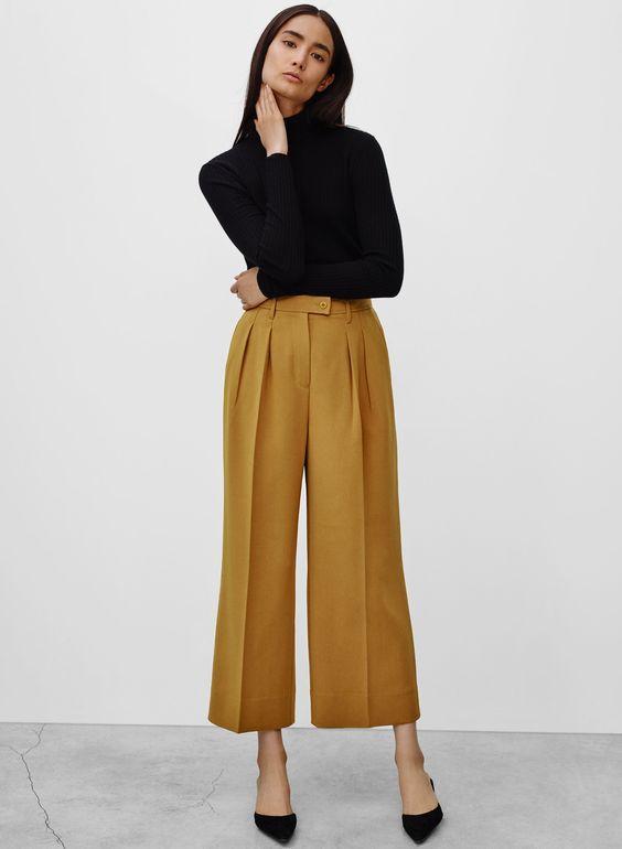 wide legged mustard gold pants #style