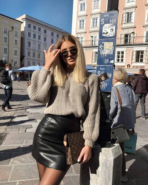 womens fashion, model, today, sunshine, leather skirt, sweater, sunglasses, stre…