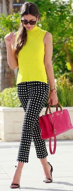 yellow blouse, black trousers RORESS closet ideas #women fashion outfit #clothin…
